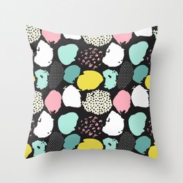 Modern pink teal yellow black abstract brushstrokes Throw Pillow