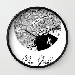 New York Area City Map, New York Circle City Maps Print, New York Black Water City Maps Wall Clock