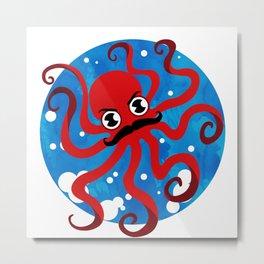 Moustache Octopus Metal Print
