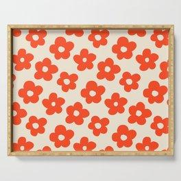 Retro 60s 70s Flower Pattern #pattern #vintage #poppy Serving Tray