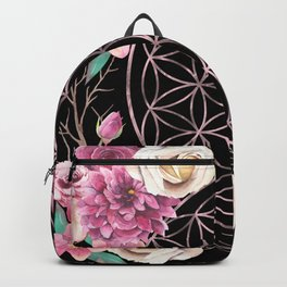 Flower of Life Rose Gold Garden on Black Backpack