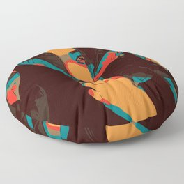 Woman looks trough leaves Floor Pillow