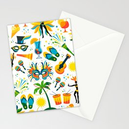 Colorful Brazilian Beach Tropical Carnaval Stationery Cards
