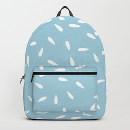 White Raindrops on Pastel Blue Background Backpack