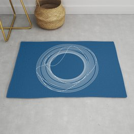 White Tangled Circles Organic Forms on Classic Blue Rug