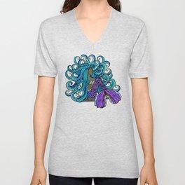 Blue Haired Mermaid Beauty Unisex V-Neck