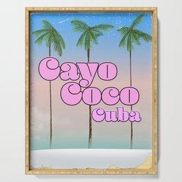 Cayo Coco Cuba vintage travel poster Serving Tray