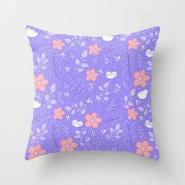 Cute bird and flower pattern Throw Pillow