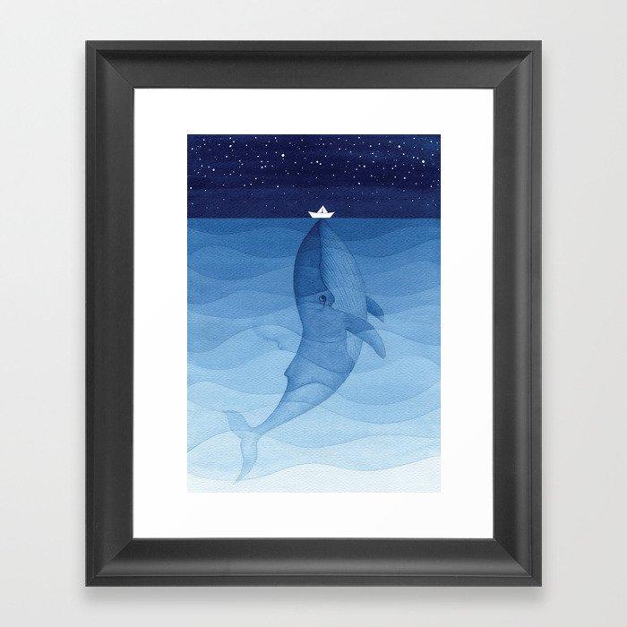 Whale blue ocean Gerahmter Kunstdruck