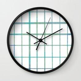 Green grid minimalist pattern Wall Clock