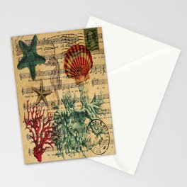 french botanical art music notes starfish seashell Stationery Cards