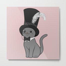 Grey Cat Wears Plumed Top Hat Metal Print