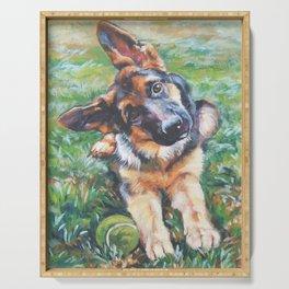 German Shepherd dog portrait painting by L.A.Shepard fine art alsatian Serving Tray