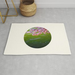 Mid Century Modern Round Circle Photo Graphic Design Pink Japanese Blossoms Over Green Pond Rug
