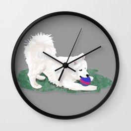 Ronin at Play; Samoyed Puppy Wall Clock