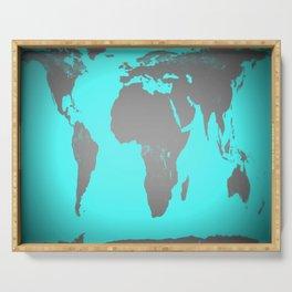 World MAp Turquoise Aqua & Gray Serving Tray