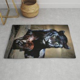 Black Leopard portrait Rug