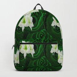 WHITE-GREEN AMARYLLIS FLOWERS ON MALACHITE ART Backpack