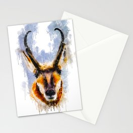 Pronghorn inky watercolor Stationery Cards