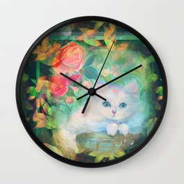 Seamless pattern illustration of a cute white cat relaxing in a basket in a rose's garden  Wall Clock