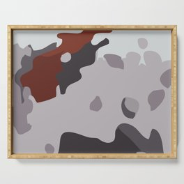 Abstract large camouflage art. Black, grey and maroon. Serving Tray