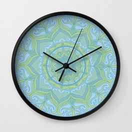 Blue and Green Flower Mandala Wall Clock