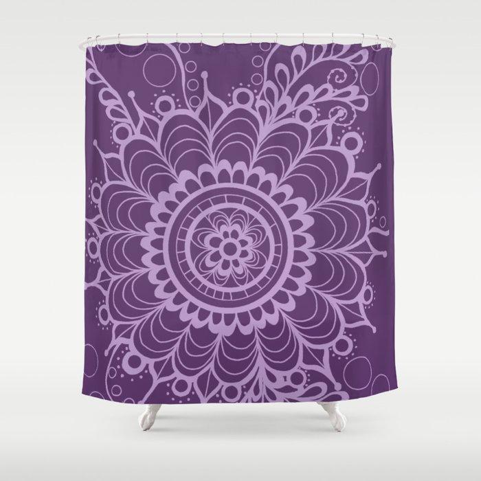 Lavender Dreams Flower Medallion - Medium with Light Outline Shower Curtain