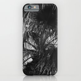 Sensual Palm Tree Leaves in Humid Night Sky iPhone Case