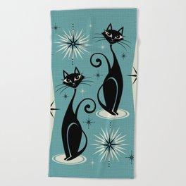 Mid Century Meow Retro Atomic Cats on Blue Beach Towel