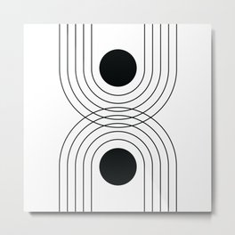 Geometric Lines in White and Black 8 (Rainbow and Sun Abstraction) Metal Print