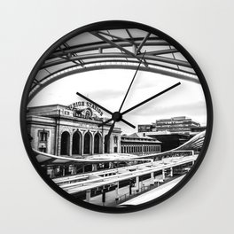Union Station // Train Travel Downtown Denver Colorado Black and White City Photography Wall Clock