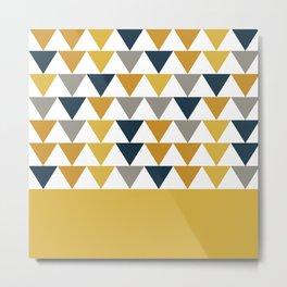Arrows Cuff - Minimalist Geometric Color Block Pattern in Light and Dark Mustard, Grey, Navy Blue, and White Metal Print