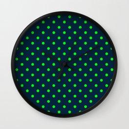Navy and Neon Lime Green Polka Dots Wall Clock