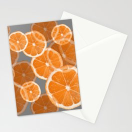 ABSTRACT ORANGE CITRUS SLICES ON GREY ART Stationery Cards