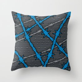 Barbed ELECTRIC BLUE Throw Pillow