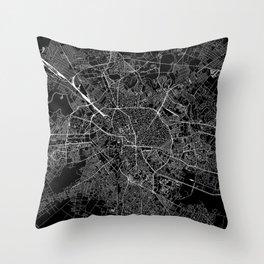 Bucharest Black Map Throw Pillow