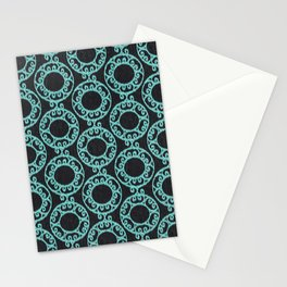 Scrolled Ringed Ikat Pattern - Caviar Aruba Blue Stationery Cards