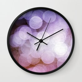 Purple and Pink Bokeh Dots Pattern Wall Clock