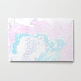 Colorful Waves Marbling Metal Print