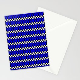 Geometric Pattern No. 1 Black and Blue Stationery Cards