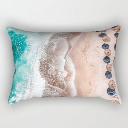 Ocean Print, Aerial Beach Print, Blue Teal Turquoise Sea, Australia Wall Decor, Aerial Beach Print, Beach Photography, Bondi Beach Print Art Print Rectangular Pillow