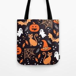 Halloween party illustrations orange, black Tote Bag