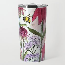 Watercolor Acrylic Cottage Garden Flowers Travel Mug
