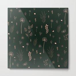 Wild botanical pattern Dark Green Edition Metal Print