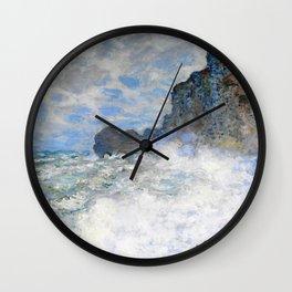 Claude Monet - Rough weather at Etretat - Digital Remastered Edition Wall Clock