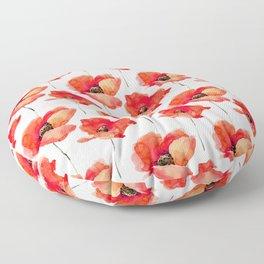 Modern red orange watercolor poppy flowers Floor Pillow