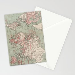 Vintage Map of The World (1918) Stationery Cards