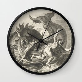 Jonah and the Whale Vintage Illustration Wall Clock