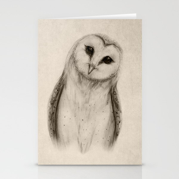 Barn Owl Sketch Stationery Cards