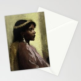 African American Masterpiece, Nubian Beauty portrait painting by Tobias Andreae Stationery Cards